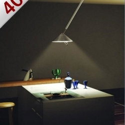 """Lumina - Lumina Flip ceiling light small nickel - This light is the typical example of the Lumina philosophy,Flip is an idea by Heinrich Wiederhold and targets a specific problem: how to provide central lighting to a table when the electric point on the ceiling is not centred. The solution is an arm made with a telescopic pipe and whose edges present two joints with large steel spheres in order to allow a total mobility and a perfect manoeuvrability. The lamp goes up and down, turns and moves easily and always reaches the desired position. The line is essential but also elegant and combines the classical conic shapes the fixing cup and the shade; a transparent telescopic tubular material with the original handle.1 nickel version in stock and ready to ship!      Product Details:  This light is the typical example of the Lumina philosophy,Flip is an idea by Heinrich Wiederhold and targets a specific problem: how to provide central lighting to a table when the electric point on the ceiling is not centred. The solution is an arm made with a telescopic pipe and whose edges present two joints with large steel spheres in order to allow a total mobility and a perfect manoeuvrability. The lamp goes up and down, turns and moves easily and always reaches the desired position. The line is essential but also elegant and combines the classical conic shapes the fixing cup and the shade; a transparent telescopic tubular material with the original handle.1 nickel version in stock and ready to ship!  Details:     Manufacturer: Lumina   Designer: Heinrich Wiederhold   Made in: Italy   Dimensions: h 37""""-55"""" (94-139cm) X d 14.5"""" (37 cm)   Light bulb: 150W Tubular halogen bulb   Material: Metal, Plexiglas"""