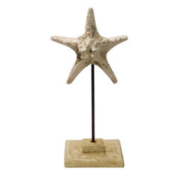 "Stone Cast Starfish on Stand - The starfish on stand sculpture measures 6.5"" x 16"". It is made of stone cast. It will add a definite nautical touch to whatever room it is placed in and is a must have for those who appreciate high quality nautical decor. It makes a great gift, impressive decoration and will be admired by all those who love the sea."