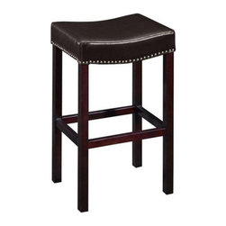 Armen Living - Armen Living Tudor 30 in. Backless Bar Stool with Brown Leather & Nail Heads - E - Shop for Stools from Hayneedle.com! Complement your traditional home or business bar's classic decor with the Armen Living 30-Inch Tudor Backless Bar Stool with Brown Leather & Nail Heads - Espresso. A solid wood frame in dark espresso a brown genuine leather seat sculpted for comfort and tailored brass nail-head trim combine to create a simple yet cozy barstool that defines gentlemanly elegance. The stationary backless design can even tuck neatly away under the bar or table to save space when not in use. Please note: This item is not intended for commercial use. Warranty applies to residential use only. About Armen LivingImagine furniture without limits - youthful robust refined exuding self-expression at every angle. These are the tenets Armen Living's designers abide by when creating their modern furniture collections. Building on more than 30 years of industry experience Armen Living combines functional versatility and expert craftsmanship into their dramatic furniture styles all offered at price points fit for discriminating budgets. Product categories include bar stools club chairs dining tables ottomans sofas and more. Armen Living is based in Sun Valley Calif.