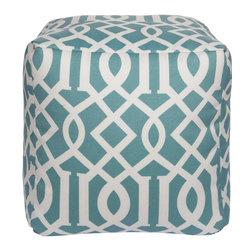 Surya - Surya Cube Pouf X-211-FUOP - Let this square pouf be the perfect accent piece in any room, indoors or outdoors. The edgy pattern is set against a calming turquoise background.