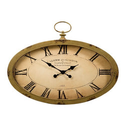 Sage Green Vintage Sophie Oval Wall Clock - *The Sophie oval wall clock features an antiqued sage green finish and looks great with a variety of decor.