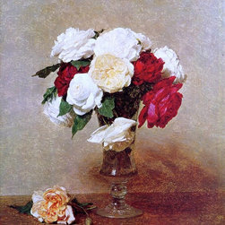 """Henri Fantin-Latour Roses in a Stemmed Glass - 16"""" x 20"""" Premium Archival Print - 16"""" x 20"""" Henri Fantin-Latour Roses in a Stemmed Glass premium archival print reproduced to meet museum quality standards. Our museum quality archival prints are produced using high-precision print technology for a more accurate reproduction printed on high quality, heavyweight matte presentation paper with fade-resistant, archival inks. Our progressive business model allows us to offer works of art to you at the best wholesale pricing, significantly less than art gallery prices, affordable to all. This line of artwork is produced with extra white border space (if you choose to have it framed, for your framer to work with to frame properly or utilize a larger mat and/or frame).  We present a comprehensive collection of exceptional art reproductions byHenri Fantin-Latour."""