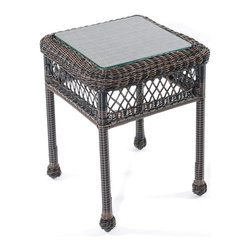 Trade Wind Treasures - Lake Living 17 in. Outdoor End Table - Includes inset tempered glass top. All weather. Welded aluminum frame. Covered in hand woven UV protected extruded vinyl. Top: 13 in. W x 13 in. D. Table: 17 in. W x 17 in. D x 22 in. H. Warranty