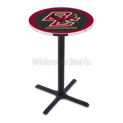 Holland Bar Stool - Holland Bar Stool L211 - Black Wrinkle Boston College Pub Table - L211 - Black Wrinkle Boston College Pub Table belongs to College Collection by Holland Bar Stool Made for the ultimate sports fan, impress your buddies with this knockout from Holland Bar Stool. This L211 Boston College table with cross base provides a commercial quality piece to for your Man Cave. You can't find a higher quality logo table on the market. The plating grade steel used to build the frame ensures it will withstand the abuse of the rowdiest of friends for years to come. The structure is powder-coated black wrinkle to ensure a rich, sleek, long lasting finish. If you're finishing your bar or game room, do it right with a table from Holland Bar Stool. Pub Table (1)
