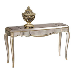 Bassett Mirror - Mirrored Top Console Table in Gold & Silver L - This console table will make a great accent piece in any room of your home, or you can pair it with matching items to create a unique living room display. Features antique mirrored top and gold and silver toned leafing. The scalloped apron and cabriole legs add style. Collette Collection. Made of Antique mirror. Scalloped apron. Cabriole legs. No assembly required. 52 in. L x 19 in. W x 31 in. H (55 lbs.)
