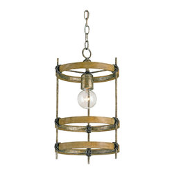 Kathy Kuo Home - Three Metal Ring Single Bulb Rustic Bronze Modern Pendant - Celebrate the simple beauty of a single bulb with this bronze finished pendant lamp.  Crafted from wood and finished with a wrought iron and bronze pyrite effect, three simple rings frame a bulb, casting shadows and creating industrial rustic style.