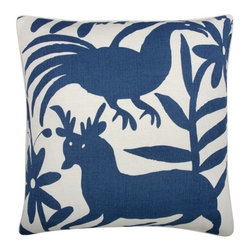 "Thomas Paul - Otomi Pillow - Features: -Material: Linen cotton blend. -Hand screened. -Down feather insert. -Overall dimensions: 22"" W x 22"" D."