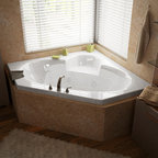 Venzi - Venzi Ambra 60 x 60 Corner Whirlpool Jetted Bathtub - The Ambra collection features a classic, corner tub design with an oval opening that will fit perfectly into any bathroom design setting. Molded seat provides comfort and safety.