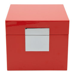 Surrey Lane - Coral Red Lacquered Box - This beautiful coral red square box will really make an impact on any dresser and console. The lacquered outside and fully lined inside give it a modern look. You can feel the quality hardware and craftsmanship.