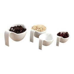 Curtis Stone - Curtis Stone Made To Measure Cups Set Of 4 Porcelain - These cups measure up for cooking and baking with sleek style. This stackable porcelain set features handles and spouts ideal for both wet and dry ingredients — you'll never eyeball it again!