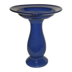None - Classic Blue Ceramic Bird Bath - Keep your birds clean and your garden looking great with the Leaf Bird Bath. This durable ceramic birdbath features a glazed stone look that will look great in any environment,with its decorative leaf pedestal and flower basin.