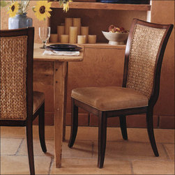 Palecek Tahoe Dining Chair 7626 - The Tahoe Dining Chair is part of the stylish Tahoe Collection. Choose from a variety of top grain leathers with a supple feel. Back panels are hand woven seagrass in a herringbone pattern.