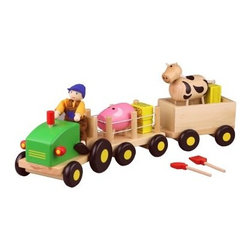 Discoveroo Wooden Farm Set - It's never too early to foster pretend play, and the Discoveroo Wooden Farm Set offers a whole barnyard of possibilities. Crafted of sustainable plantation wood, this play set comes complete with a tractor, two trailers, a farmer, a cow, a pig, four hay bales, and even a rake and shovel. Ideal for ages 18 months to three years.About Flat River GroupDistributing to over 10,000 storefronts, Flat River Group is dedicated to building strong relationships with key retailers across the country. Their full-service wholesale distribution streamlines operations while decreasing costs. Their cutting-edge software, information systems, and unique shipping capabilities allow them to store, package, and ship products to their clients with ease. The result? The best in sales, inventory, and fulfillment.