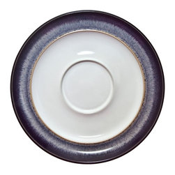 Denby - Denby Heather Wide-Rimmed Tea Saucer - Set of 2 - DENB236 - Shop for Dishes and Plates from Hayneedle.com! For the spoon that needs to rest its weary head the Denby Heather Wide-Rimmed Tea Saucer- Set of 2 comes to the rescue. These saucers are handcrafted from imported stoneware each one finished in bone white with a deep purple speckled rim for the distinctive look you've come to expect from Denby. They truly are the perfect fit for your Denby teacups with a wide rim for resting tea spoons and sugar cubes or even just a cookie or two. All Denby pieces are dishwasher and microwave safe so go ahead- indulge in tea time everyday.About DenbyDenby has its roots in England where skilled craftsman have been making pottery using traditional methods for over 200 years. Though the time and styles have changed Denby has kept pace and today continues to make high-quality beautiful and timeless dinnerware. From its humble roots Denby has spread all over the world and is a top choice for brides and families looking to spruce up their dining sets. Even better all of Denby's products are made for the modern kitchen and are dishwasher- oven- microwave- and freezer-safe.