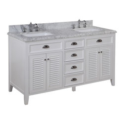 Kitchen Bath Collection - Savannah 60-in Double Sink Bath Vanity (Carrara/White) - This bathroom vanity set by Kitchen Bath Collection includes a white cabinet with soft close drawers, stunning Carrara marble countertop with double-thick beveled edges, self-closing doors, double undermount ceramic sinks, pop-up drains, and P-traps. Order now and we will include the pictured three-hole faucets and a matching backsplash as a free gift! All vanities come fully assembled by the manufacturer, with countertop & sink pre-installed.