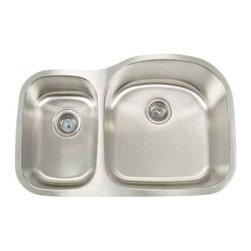 Artisan Manufacturing - Artisan 18-Gauge 31 1/8 x 20-1/2 40/60 Sink - MH-3220D87R Artisan Manufacturing Manhattan Double Bowl Undermount 18 Gauge Kitchen Sink