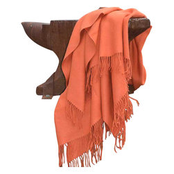 Happy Blanket - 100% Alpaca Throw Blanket, Orange - Keep yourself warm and cozy while you Adorn any room with this Charming throw