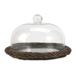 Olivia Glass Cloche w/ Willow Base - *The Olivia glass cloche adds interest to any area! Willow is finished in a warm grey stain, making this neutral piece easily customizable with filler for a personalized look!