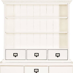 Office Designs 3-Drawer Hutch - I love the idea of using my walls — not my floor, or worse, bed — for storage, and this hutch would be also the perfect way to add interest to a simple white desk.
