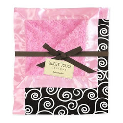 Sweet Jojo Designs - Madison Satin Baby Blanket - For the fashionista baby, this black and pink fuzzy and soft blanket is hip, cozy and affordable. The delectable pink cotton, candy-like, minky swirl material is offset by the black-and-white-swirled pattern, all bordered by lustrous satin. It's a cozy blankie both baby and mama will love.