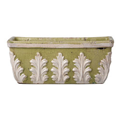 Rustic Garden Pistachio with White Leaves Rectangular Planter - Plant a row of rosemary in this rich pistachio green planter with rustic white leaf details.