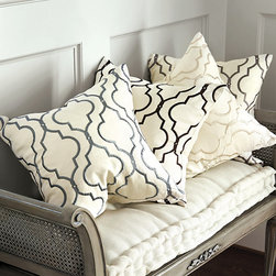 Ballard Designs - Firenze Embroidered Pillow - Hidden zipper. Includes luxurious feather down insert. Our Firenze Embroidered Panel and has been so popular, we created this Firenze Embroidered Pillow so you can carry the look to bed top and seating. Hand finished in soft cotton/linen blend and embroidered in a geometric trellis for subtle color.Firenze Emroidered Pillow features:. .