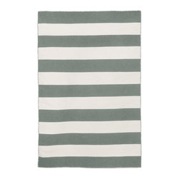 """Trans-Ocean - 60""""x90"""" Sorrento Rugby Stripe Grey Rug - Simple stripe patterns combine with sophisticated blended colors in this Indoor/Outdoor flatweave.100% Polyester, this flat weave reversible rug is easy to care for and great for any indoor outdoor space.Soft Polyester is tightly hand woven by artisans in India with great attention paid to detail such as the serging to create this durable yet attractive Indoor Outdoor rug. Made in India."""
