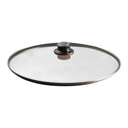 "Swiss Diamond - 14"" Tempered Glass Lid - FConstructed with sturdy tempered glass, this high-quality 14 inch (36 cm) glass lid is built for convenience and durability. It is created to fit the Swiss Diamond Wok, and can be used on both the standard and the induction versions. As a universal lid, it can also be used with any 36cm pot, skillet or saute pan  a perfect fit is only guaranteed for Swiss Diamond cookware. The adjustable knob has an integrated steam vent that opens and closes to control steam without lifting the cover. It can be used in the oven up to 260 C (500 F), but should not be used under a broiler or placed near a heating element. Please avoid exposing this or any glass cover to rapid temperature changes, especially putting a hot lid under cold water."