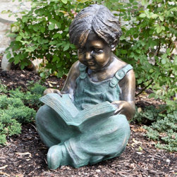 Alpine - Alpine Boy Sitting Down Reading Book Garden Statue - GXT270 - Shop for Statues and Sculptures from Hayneedle.com! If your garden could use an injection of classic Americana the Alpine Boy Sitting Down Reading Book Garden Statue is a brilliant addition to your backyard. This beautifully detailed statue is sculpted with precision creating an incredibly realistic depiction of a boy reading a favorite book. This brilliant garden decoration is constructed of durable weather-resistant resin with an antique bronze finish for lasting longevity.About Alpine CorporationAlpine Corporation has offices in Arizona Colorado Florida Iowa and Ohio. With a firm belief in the free enterprise system Alpine Corporation promotes equal treatment for customers employees shareholders suppliers and the community. Alpine Corporation carries a vast array of items including fountains pond and garden accessories and statuary and carries lighting and parts as well. A steadfast goal for Alpine Corporation is to continually exceed their customers' increasing expectations.
