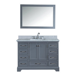"""Ari Kitchen and Bath - South Bay Gray Bathroom Vanity and Mirror - Beautiful transitional style bathroom vanity by Ari Kitchen and Bath, a new brand manufacturing quality bathroom decor at affordable prices. The new 48"""" South Bay comes with 1"""" edge Italian carrara marble top, back splash, rectangle undermount CUPC basin, soft-closing drawers and doors, concealed drawer hinges, framed mirror and grey solid wood bathroom cabinet. Absolutely no MDF or Particle board on any of our bathroom vanities. All of our bathroom vanities come assembled by the manufacturer, minimal assembly required."""