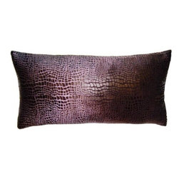 Squarefeathers - Morgan Croco Pillow - Comfort and style is key in home decor which the Morgan pillow collection can give. Made of polyster and rayon velvet with a knife edge trim. It has a soft and pump feataher/down insert inclosed with a zipper. Like all of our products, this pillow is handmade, made to order exclusively in our studio right here in the USA.
