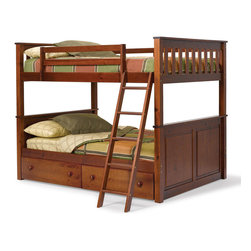 Chelsea Home Furniture - Chelsea Home Full Over Full Mission Panel Bunk Bed w/ Underbed Storage in Dark - - Providing home elegance in upholstery products such as recliners, stationary upholstery, leather, and accent furniture including chairs, chaises, and benches is the most important part of Chelsea Home Furniture's operations. Bringing high quality, classic and traditional designs that remain fresh for generations to customers' homes is no burden, but a love for hospitality and home beauty. The majority of Chelsea Home Furniture's products are made in the USA, while all are sought after throughout the industry and will remain a staple in home furnishings.