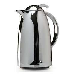 Epoca - Epoca Chrome 34-ounce Thermal Carafe - This contemporary chrome carafe with glass lining keeps beverages hot or cold for up to four hours. It has a double wall glass vacuum insulated interior liner and a beautiful polished chrome exterior.
