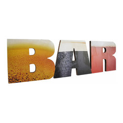 Cut-Out Wooden BAR Wall Plaque Pub Sign - This wooden wall plaque is a wonderful addition to bars, restaurants, and man caves. Made of wood, it spells out the word `BAR` in cut-out letters, with photos of lager, stout and red beers on each respective letter. The sign measures 19 inches long, 5 1/2 inches tall, and hangs on the wall with a pair of nails, screws or picture hangers. Cheers!