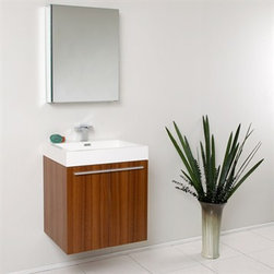 Fresca - Fresca Alto Teak Modern Bathroom Vanity with Medicine Cabinet - Very handsome in its simplicity, this is a vanity that will move in, not stretch out and take up space, but will instead easily consolidate everything into two pieces. Life will be a less messy affair with this vanity installed. A wonderfully quietly designed piece, will invite everyone to come in and put outside troubles at the doorstep. Complete with a medicine cabinet that can be either wall mounted or recessed into the wall. Many faucet styles to choose from. Optional side cabinets are available. Features MDF/Veneer with Acrylic Countertop/Sink with Overflow Soft Closing Doors Single Hole Faucet Mount (Faucet Shown In Picture May No Longer Be Available So Please Check Compatible Faucet List) P-trap, Faucet/Pop-Up Drain and Installation Hardware Included How to handle your counter Installation GuideView Spec Sheet