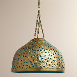 Desiree Metal Bell Pendant Lamp - This punched metal pendant lamp has the right blend of old technique and current trends. Check out that turquoise peeking through!