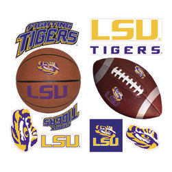 York Wallcoverings - NCAA Louisiana State Tigers 23pc College Wall Sticker Decals - Features: