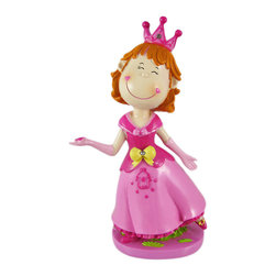 Pretty Pink Princess Money Bank Piggy Coin - This adorable money bank is a great addition to every little girl`s room. Made of cold cast resin, the bank features a Princess in a pink dress, complete with crown and gloves. The bank measures 9 3/8 inches tall, 3 1/2 inches deep and 5 1/4 inches wide.  She is accented with a gleaming faceted clear crystal rhinestones on her bow, and another in her crown. She`ll make a fine gift for your little Princess.