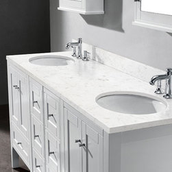 White Bathroom Vanities - White Bathroom Vanities can add a fresh, open feel to any bathroom, but too much can consent a room cold and stark. So how can you get the light airiness of white design bathroom vanities without overdoing it? The answer may be originated in variation. Mixing old and new bath vanities with patterns and textures can add variety and feeling to an otherwise bare bathroom.  Decorating with white doesn't have to be intimidating; it just takes a little thought and creativity. Start with a sample white bath vanities, its wonderful how many different shades of white are existing.