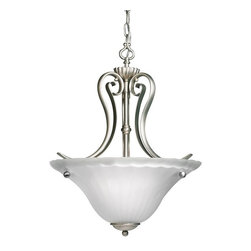 "BUILDER - KICHLER 3325NI Willowmore Traditional Inverted Pendant Light - Willowmore is the name of a small trading village located in the Eastern Cape of South Africa. Much like that community, this beautiful 2-light Willowmore inverted Pendant is a vivid sight to behold. The Brushed Nickel finish flows along the sweeping curved arms of the pendant, which cradle the Distressed-etched glass. This glass creates an almost creamy opaque light, which adds a distinct ambiance to your room. 100-watt (max.) candle-based bulbs add a distinct and romantic ambiance to your room. It measures 16"" in diameter with a 21"" body height and comes complete with 54"" of extra lead wire and 6' of chain."
