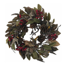 "Nearly Natural - 24 in. Pinecone, Berry and Feather Wreath - A classically traditional thanksgiving wreath. Filled with berries, leaves and pinecones. Use in the dining room, kitchen or anywhere. Construction Material: Polyester material, Iron wire, Pinecone. 24 in. W x NA in. D x 24 in. H ( 3.5 lbs. )Celebrate the culmination of the harvest season with this classically traditional thanksgiving wreath. A full 24"" in diameter, this exceptional wreath is filled with berries, leaves, and pinecones; and will look great on your dining room wall, kitchen, front door, or anywhere else you want to bring a little ""Autumn"". Also makes a great ""thanks for having us over for dinner"" gift as well!"