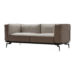 Camerich USA - Avalon Sofa, Carrick Cafe/Smoke Leather - The Avalon sofa feathers foam and feather down seat cushions, and a cast steel base with painted black finish.