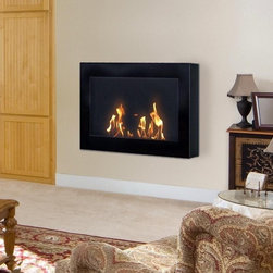 """Anywhere Fireplace SoHo 28'' x 19"""" Black Indoor Wall Mount Fireplace - The clean, geometric, sophisticated design of the wall mount SoHo model of the Anywhere Fireplace™ is a stunning addition to any room. It works with any décor. The warm glow created by the dancing flames of the fire will create atmosphere anywhere you wish to hang it – living room, bedroom, family room, dining room, anywhere…. Very easy to install on any wall and mounting hardware is included."""