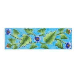 """Knobco - Tiles 2X6"""" Inch, Blue Shading Flower And Lime Green Leaf With Turquoise Base - Blue shading flower and Lime Green leaf with Turquoise base Tile from Jaipur, India. Unique, hand painted tiles for your kitchen or other   tiling project. Tile is 2x6"""" in size."""