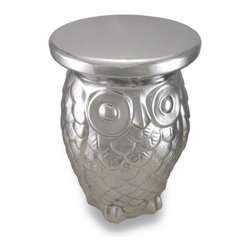 Zeckos - Ceramic Chrome Finish Owl Garden Stool Plant Stand Decorative Table - Accent your home, garden or patio with this eye-catching chrome finish owl stool that does double duty as an accent table, too Beautifully crafted from ceramic, it features an electroplated chrome finish, and an awesome owl design; including characteristically big eyes and a sculpted feather body. Measuring 18 inches (46 cm) high and 12 inches (30 cm) diameter, it would make a great garden seat, ottoman in the family room, a unique nightstand or a fun table out by the pool to hold your drinks. Owls are known to be wise, and wherever you choose to display it, this owl really uses his head, and makes a shining gift sure to be admired