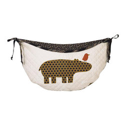 Cotton Tale Designs - Animal Stackers Toy Bag - A quality baby bedding set is essential in making your nursery warm and inviting. All Cotton Tale patterns are made using the finest quality materials and are uniquely designed to create an elegant and sophisticated nursery. Part of the Animal Stackers collection is the embroidered toy bag with hippo and bright bird on quilted pima cotton. Cord and ties in woven stripe. Toy bags can be used as wall decor or can be tied to changing table to hold toys or supplies. Never tie toy bags to the crib. About 10 pound capacity. Measures 27 in.  x 13 in. . Machine washable, cold water, gentle cycle, separate. Tumble dry low. perfect for a girl or a boy.