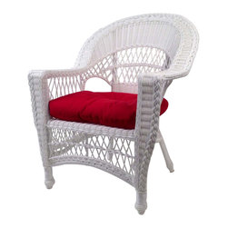 Wicker Paradise - Cape Cod Wicker Chair White - The Cape Cod wicker lounge chair is made for outdoor use built on an aluminum frame. The seat is fully woven resin wicker, so this loveseat does not need a cushion but can be purchased separately.  It has a classic look that is sure to never go out of style.