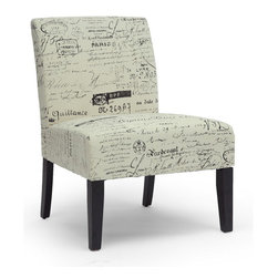 Baxton Studio - Baxton Studio Phaedra French Script Modern Slipper Chair - Parlez-vous francais? Our Phaedra French Script Modern Slipper Chair brings out the Francophile and fashion fanatic in us all via its black French script against beige background pattern and contoured legs. Foam cushioning and foam linen fabric offer comfort in a discount Chair that easily stands alone as an accent in its own right.