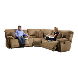 "Catnapper - Catnapper Grandover 5 Piece Sectional Sofa in Sandstone and Ginger - Catnapper - Sectionals - 1625KIT - The Grandover Collection by Catnapper offers generously proportioned pieces upholstered in sandstone color soft durable chenille fabric. Reversible correlating bolster pillows featuring """"ginger"""" pattern upholstery altogether with decorative welts add more visual appearance to the entire collection. Storage console is provided with luxurious burl finish cupholders. This sectional includes RSF Recliner 2 Storage Consoles Wedge and LSF Recliner. Matching rugs and occasional tables as well as Glider Recliner are available as an option. Enjoy this amazingly comfortable and durable collection in your home!"