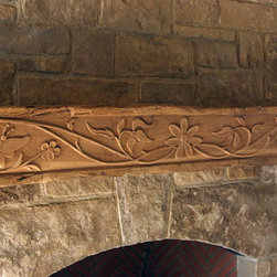Custom Carved Wood Mantle - Custom carved wood mantle.